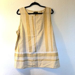 For Cynthia striped embroidered linen sleeveless